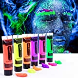 ArtBee Face Colour Paint (Pack Of 6) ,UV Blacklight Reactive Glow Face And Body Paint , Set Of 6 Tubes Neon Fluorescent , 14.2 Ml Each Tube