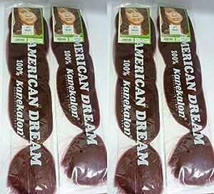 Tressage Régulier Tresse Cheveux - 100% Fibre Kanekalon - 4 Paquets en couleur Bordeaux