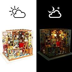 LVPY Puppenhaus, Holz Puppenhaus DIY Set mit Miniatur Möbel und LED Licht für Kinder und Freunde