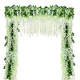 YQing Kunstblumen, künstliche Glyzinien, Heimdekoration, jeder Strang ist 110 cm lang, aus Seide, für Hochzeiten, zu Hause, Garten, Party, 12 Stück (weiß) - 4