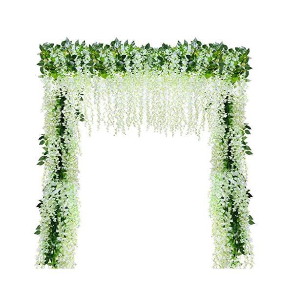 YQing 12 Piezas Flores Artificiales Plantas Decoración Seda Wisteria Artificial Flores Decoración para Boda Hogar