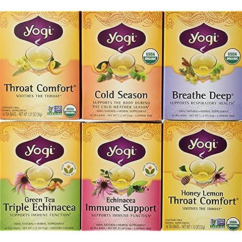 Yogi Tea Cold Weather Season Tea 6 Flavor Variety Pack (Pack of 6)