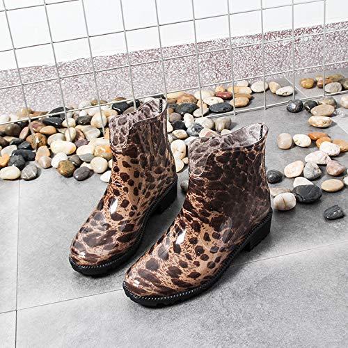 SKYROPNG Botas De Agua para,Moda Leopardo Coreano Imprimir Tubo Corto Botas De Agua Mujer Adulta Wear-Resistant Antideslizante Impermeable Zapatos De Agua Zapatos De Goma,36