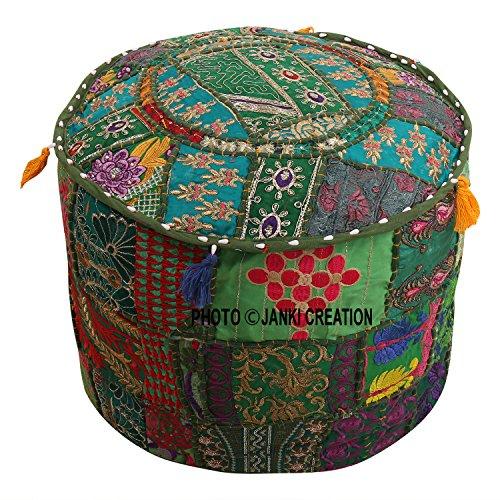 Taburete otomano bordado de algodón con diseño de patchwork, color turquesa, verde, floral, estuche para puf, reposapiés, funda de cojín, decoración étnica, funda para puff (18 x 18 x 13)
