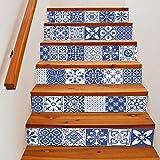 Quner Treppe Aufkleber, Blauweißes Porzellan Muster Selbstklebend Wasserdicht DIY Wandtattoo PVC 6 Stück Treppen Abziehbild Dekor Entfernbare Abziehbilder