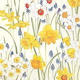 Confezione 20 tovaglioli pranzo, qualità superiore, 3 veli, motivo floreale - Colore: Giallo (33 x 33 cm)