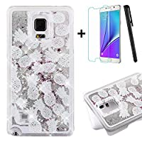 Tebeyy Samsung Galaxy Note 4 Case,Samsung Galaxy Note 4 Liquid Case,3D Creative Design [Flowing Liquid] Floating [Bling Glitter] Sparkle Star Crystal Clear Hard Protective Shell Case Cover for Samsung Galaxy Note 4 +1x Screen Protector +1x Stylus Pen-Pineapple