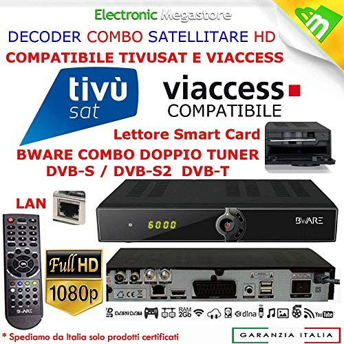 Decoder Satellitare HD compatibile con tessera Tivusat è con tessere Viaccess Digiquest Bware COMBO 540