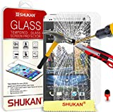 HTC One M7 Tempered Glass Crystal Clear LCD Screen Protector Guard & Polishing Cloth RED 2 IN 1 Dust Stopper SVL6 BY SHUKAN®, (TEMPERED GLASS)