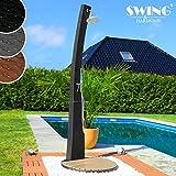 Swing & Harmonie Polyrattan Dusche mit LED-Bleuchtung und Lautsprecher Gartendusche Rattan Sauna Pool Außendusche (Schwarz)