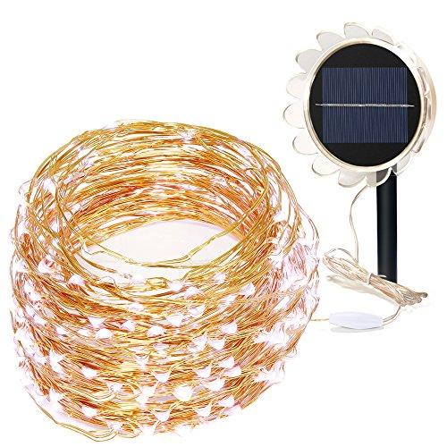 Luces Navidad Exterior GRDE 150 LED DIY Solar Cobre String Lights Impermeable IP65, Cadena de LED with 8 Modes Iluminacion para Interior/Exterior, Jardines, Fiesta de Navidad, Arbol(blanco)