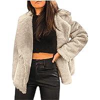 Cappotto Leopardato Donna Giacche in Pelliccia Sintetica Risvolto, Cardigan Corto Elegante Vintage,Giacca Peluche Pile…