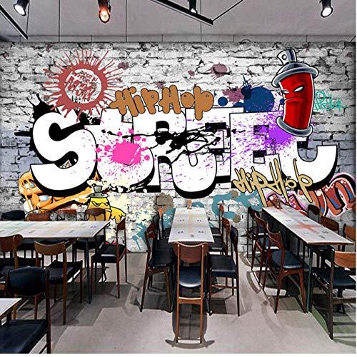 Benutzerdefinierte 3D Wandbilder Tapete Kreative Kunst Retro Street Graffiti Bar Restaurant Hintergrund Kreative Dekoration Painting368 (B) X254 (H) Cm -