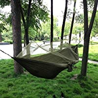 Hammock Portable High Strength Fabric Hammock Hanging Bed with Mosquito Net for Outdoor Camping Garden Travel Beach Nylon Swing Bed Army Green