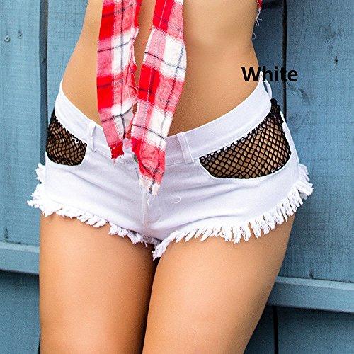 Bikini Und Low Rise Jeans (Junjiagao Sexy Denim Hot Shorts Bikini Sexy Jeans Shorts Low Rise Strand Micro Mini Kurze Erotische Culb Wear (Color : White, Size : M))