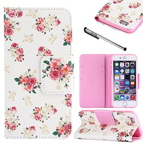 Fire Red Pit (Urvoix Handyschutzhülle mit Blumen-Design, für Apple iPhone 6 Plus/6S Plus (14°cm / 5,5Zoll), mit Flip-Ständer und Kartenfächern, PU-Kunstleder (nicht für iPhone 6))