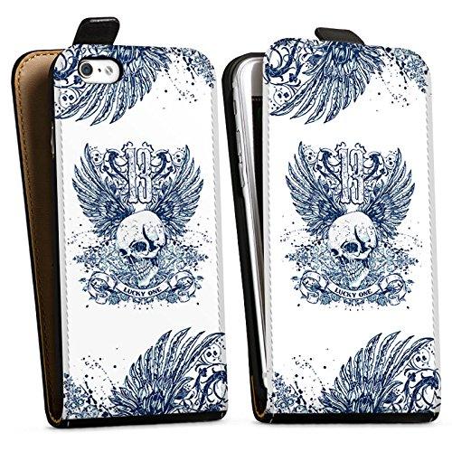 Apple iPhone 8 Plus Hülle Premium Case Cover Totenkopf Tattoo Flügel Downflip Tasche schwarz