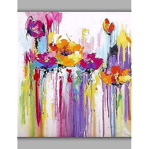 OFLADYH ® yemas florales de diseño abstracto de la pintura al óleo por el artista chino manfactured , with frame-20
