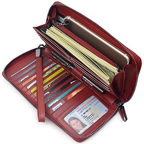 Bveyzi Frauen RFID Blockieren Brieftasche Leder Zip um Kupplung große Reise Tasche Handschlaufe Weinrot