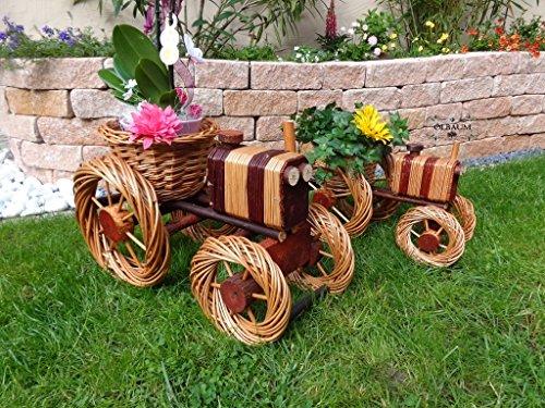 2 Stück Traktor 60 + 45 cm XL, aus Korbgeflecht, Korbruten wetterfest**, pfiffige GARTENDEKO, ideal als Pflanzkasten, Blumenkasten, Pflanzhilfe, Pflanzcontainer, Pflanztröge, Pflanzschale, Rattan, Weidenkorb, Pflanzkorb, Blumentöpfe, Holzschubkarre, Pflanztrog, Pflanzgefäß, Pflanzschale, Blumentopf, Pflanzkasten, Übertopf, Übertöpfe, , Holzhaus Pflanzgefäß, Pflanztöpfe Pflanzkübel