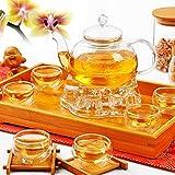 KING DO WAY Glass Flower Coffee Tea Pot Teapot Set Infuser Filter + Tealight Warmer + 6 Cups Transparent 600ml