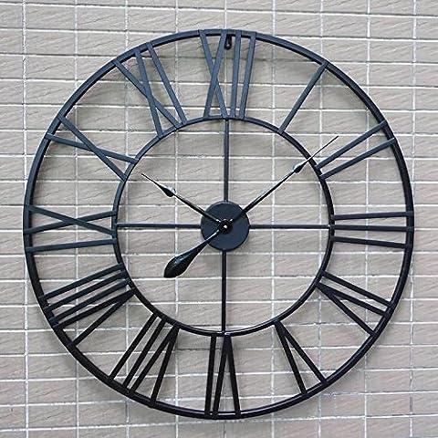 ZHUNSHI Horloge murale ronde américaine vintage fer forgé horloge romaine vent créative bars cafés décoré le salon de l'horloge murale, 80 cm,UN