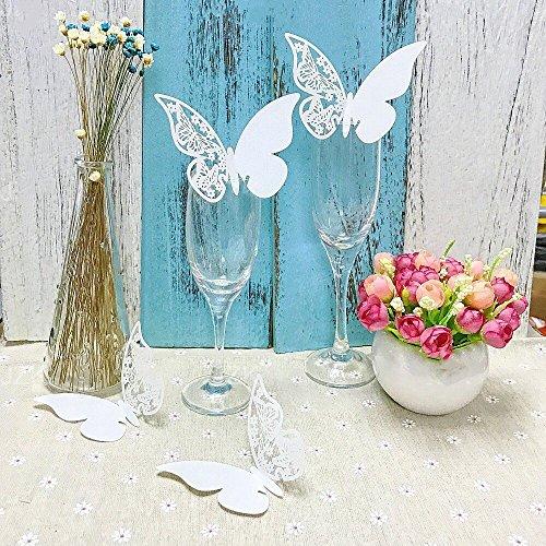 JZK® 50 x Weiß Schimmer Schmetterling ans Glas Platzkarten Tischkarten Namenskarten Weinglas Cup Champagnerglas Karte Glasanhänger Tischdeko für Hochzeit Geburtstage Taufe Party