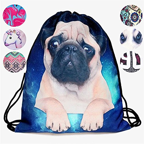 Schultertasche / Rucksack mit Kordelzug aus Nylon, faltbar, Aufbewahrungsmöglichkeit für Schule, Zuhause, Reisen, Sport, Mops