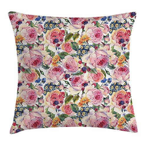 ziHeadwear Shabby Chic Decor Throw Pillow Cushion Cover, Country Design with Flowers Florals Roses Orchids Buds Romantic Print, Decorative Square Accent Pillow Case, 18 X18 Inches, Multicolor Orchid Print Dress