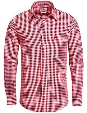 Almsach Trachtenhemd Slimline Liberto in Rot INKL. Volksfestfinder
