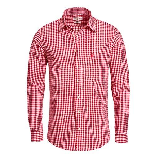 Almsach Herren Trachtenhemd Slim-Fit Slim-Line Trachten-Mode traditionell-kariert s-XXL viele Farben, Größe:XL, Farbe:Rot