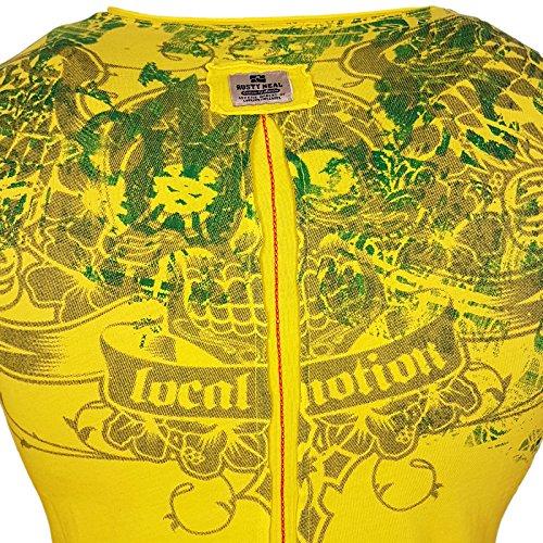 Rusty Neal Rundhals Skull Strass T-Shirt Kurzarm Slim Fit Design Fashion 15043 Gelb
