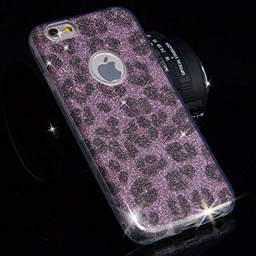 EGO ® Hülle Glitzer Schutzhülle für Samsung J510 Galaxy J5 2016, Silber Schmetterling Back Case Bumper Glänzend Transparente TPU Bling Weiche Glamour Handy Cover Leopard Pink