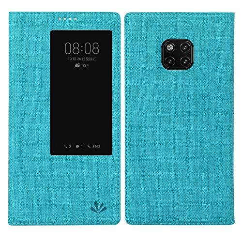 Feitenn Mate 20 Pro Hülle, Premium Leder Tasche Flip klappbares Handyhülle Case Standfunktion TPU intelligente Ansicht Fenster Schlaf aufwachen Brieftasche für Huawei Mate 20 Pro (Mate 20 Pro, Blau)