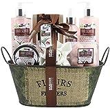 BRUBAKER Cosmetics Bade- und Dusch Set Coconut Milk & Strawberry - Kokosnuss & Erdbeer Duft - 10-teiliges Geschenkset in Vintage Wanne