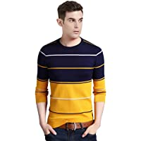 EYEBOGLER Regular Fit Men's Striped Yellow T-Shirt (T305-AS10YLDNWH_1)