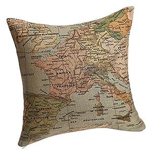 """onker algodón lino cuadrado manta decorativa Funda de almohada Funda para cojín 18""""x 18"""" mapa del Mediterráneo"""