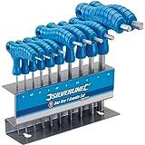 Silverline 323710 Inbussleutel met Dwarsgrepen, 10-Delig Set, 2-10 mm, Blauw
