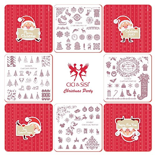 Cici & SISI Weihnachts Nail Art Stamping Kit Stempel Teller Maniküre DIY Vorlage 4 pieces-christmas Party