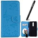Nokia 8 Hülle,Nokia 8 Hülle Leder Blau,Slynmax Spiegel Schmetterling Ledertasche Leder Flip Stand Case Card Slot Leder Tasche Case Karteneinschub Spiegel Schutzhülle Bumper Handyhüllen für Nokia 8
