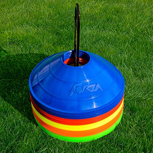 50 Marker Cones & Stand - Highest Quality Available - Multi-Sport Training Marker Cones [Net World Sports] (Multi-Coloured)