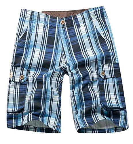 GRMO-Men Multi Pocket Camo Print Plaid Pattern Cotton Cargo Shorts