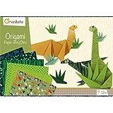Avenue Mandarine KC040O - Une boite créative Origami Initiation Dino comprenant 40 feuilles de papier origami, une planche de