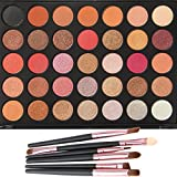 Lover Bar 35 Warm Colour Eyeshadow Palette - Beauty Cosmetics Tools - Makeup Waterproof Nature Glow Matte Eye Shadows Kit - Professional Shimmer Eye Shadow Pallets with Eyes Make Up Brushes Set (35F) by Lover Bar