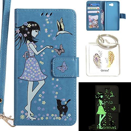 Preisvergleich Produktbild für Galaxy J7 Prime PU Fluoreszenz Leder Silikon Schutzhülle Handy case Book Style Portemonnaie Design für Samsung Galaxy J7 Prime + Schlüsselanhänger ( HWL (4)