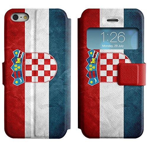Graphic4You Vintage Uralt Flagge Von Kroatien Kroatisch Design Leder Schützende Display-Klappe Brieftasche Hülle Case Tasche Schutzhülle für Apple iPhone 5 und 5S Kroatien Kroatisch