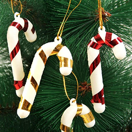 HuaYang Small Crutch Cane Shape Xmas Tree Decor Pendants Gift Decoration 10pcs(Random Color)