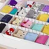 GEZICHTA Schublade Trennwand, 6Verstellbare Grid Schublade Schindel Trennwände DIY Kunststoff Closet Trenner aufgeräumte Organizer für Unterwäsche Socken Gürtel Office Supplies, Weiß, 43 * 5cm