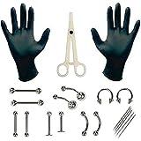 Kit da 20 attrezzi per body piercing, con aghi per ombelico, lingua, sopracciglio, capezzolo, labbro