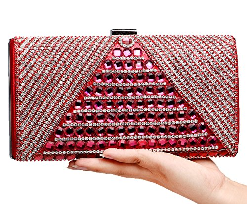 Santimon Ladies Clutch Strass Clip Hook Hard Case Tracolle Lucide Tracolla Staccabile Rossa